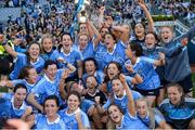 24 September 2017; The Dublin team celebrate with the Brendan Martin Cup following the TG4 Ladies Football All-Ireland Senior Championship Final match between Dublin and Mayo at Croke Park in Dublin. Photo by Cody Glenn/Sportsfile