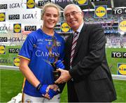 24 September 2017; Aisling McCarthy of Tipperary is presented with the Player of the Match by Pádhraic Ó Ciardha, TG4, after the TG4 Ladies Football All-Ireland Intermediate Championship Final match between Tipperary and Tyrone at Croke Park in Dublin. Photo by Brendan Moran/Sportsfile
