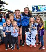 24 September 2017; Lauren Magee of Dublin celebrates with her family, from left, Nathaniel, Killian and Liam Kane, Éabha, Neasa and Daisy Magee, after the TG4 Ladies Football All-Ireland Senior Championship Final match between Dublin and Mayo at Croke Park in Dublin. Photo by Brendan Moran/Sportsfile