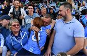 24 September 2017; Lauren Magee of Dublin celebrates with her grandparents Daisy and James Magee and father Johnny Magee after the TG4 Ladies Football All-Ireland Senior Championship Final match between Dublin and Mayo at Croke Park in Dublin. Photo by Brendan Moran/Sportsfile