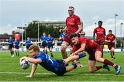 23 September 2017; Sean Wafer of Leinster scores his side's second try during the under18 clubs interprovincial match between Leinster and Munster at Donnybrook Stadium in Dublin. Photo by Ramsey Cardy/Sportsfile