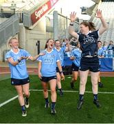 24 September 2017; Dublin team-mates, from left, Carla Rowe, Laura McGinley and Emer Ní Eafa following the TG4 Ladies Football All-Ireland Senior Championship Final match between Dublin and Mayo at Croke Park in Dublin. Photo by Cody Glenn/Sportsfile