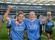 24 September 2017; Tarah O'Sullivan, left, and Deirdre Murphy of Dublin following the TG4 Ladies Football All-Ireland Senior Championship Final match between Dublin and Mayo at Croke Park in Dublin. Photo by Cody Glenn/Sportsfile