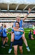 24 September 2017; Sinéad Finnegan, top, and Denise McKenna of Dublin celebrate following the TG4 Ladies Football All-Ireland Senior Championship Final match between Dublin and Mayo at Croke Park in Dublin. Photo by Cody Glenn/Sportsfile