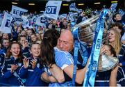 24 September 2017; Lyndsey Davey of Dublin celebrates with supporters and the Brendan Martin Cup following the TG4 Ladies Football All-Ireland Senior Championship Final match between Dublin and Mayo at Croke Park in Dublin. Photo by Cody Glenn/Sportsfile