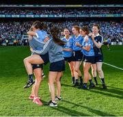 24 September 2017; Dublin team-mates celebrate following the TG4 Ladies Football All-Ireland Senior Championship Final match between Dublin and Mayo at Croke Park in Dublin. Photo by Cody Glenn/Sportsfile