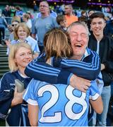 24 September 2017; Tarah O'Sullivan of Dublin celebrates with supporters following the TG4 Ladies Football All-Ireland Senior Championship Final match between Dublin and Mayo at Croke Park in Dublin. Photo by Cody Glenn/Sportsfile