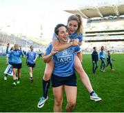 24 September 2017; Sinéad Finnegan, top, and Denise McKenna of Dublin following the TG4 Ladies Football All-Ireland Senior Championship Final match between Dublin and Mayo at Croke Park in Dublin. Photo by Cody Glenn/Sportsfile