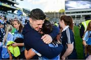 24 September 2017; Sinéad Goldrick of Dublin and Dublin Senior Hurler David Treacy following the TG4 Ladies Football All-Ireland Senior Championship Final match between Dublin and Mayo at Croke Park in Dublin. Photo by Cody Glenn/Sportsfile