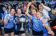 24 September 2017; Dublin players, from left, Denise McKenna, Emer Ní Eafa, Sinéad Finnegan, and Fiona Hudson celebrate with supporters and the Brendan Martin Cup following the TG4 Ladies Football All-Ireland Senior Championship Final match between Dublin and Mayo at Croke Park in Dublin. Photo by Cody Glenn/Sportsfile