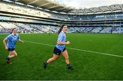 24 September 2017; Niamh Collins, right, and Sinéad Goldrick of Dublin following the TG4 Ladies Football All-Ireland Senior Championship Final match between Dublin and Mayo at Croke Park in Dublin. Photo by Cody Glenn/Sportsfile