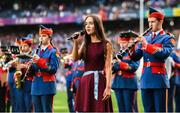 24 September 2017; Niamh McDowell, age 14, from Glasdrummond GAA Club, Co Down, sings the National Anthem during the TG4 Ladies Football All-Ireland Senior Championship Final match between Dublin and Mayo at Croke Park in Dublin. Photo by Cody Glenn/Sportsfile