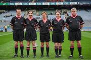 24 September 2017; Match referee Angela Gallagher, centre, and her officials, from left, Kevin Corcoran, Ciara Conaty, Sarah Stanley and Kiaran McKeever, during the TG4 Ladies Football All-Ireland Junior Championship Final match between Derry and Fermanagh at Croke Park in Dublin. Photo by Cody Glenn/Sportsfile