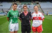 24 September 2017; Match referee Angela Gallagher with Fermanagh captain Áine McGovern and Cáit Glass of Derry during the TG4 Ladies Football All-Ireland Junior Championship Final match between Derry and Fermanagh at Croke Park in Dublin. Photo by Cody Glenn/Sportsfile