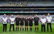 24 September 2017; Match referee Angela Gallagher, centre, and her officials, from third from left, Kevin Corcoran, Ciara Conaty, Sarah Stanley and Kiaran McKeever, and linesmen during the TG4 Ladies Football All-Ireland Junior Championship Final match between Derry and Fermanagh at Croke Park in Dublin. Photo by Cody Glenn/Sportsfile