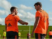 25 September 2017; JJ Hanrahan and Mark Flanagan of Munster in conversation during Munster Rugby Squad Training at the University of Limerick in Limerick. Photo by Diarmuid Greene/Sportsfile