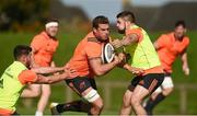 25 September 2017; CJ Stander of Munster in action against Bill Johnston and Duncan Casey during Munster Rugby Squad Training at the University of Limerick in Limerick. Photo by Diarmuid Greene/Sportsfile