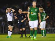 25 September 2017; Sean Hoare of Dundalk is shown a yellow card by referee Robert Rogers during the SSE Airtricity Premier Division match between Cork City and Dundalk at Turners Cross, in Cork. Photo by Eóin Noonan/Sportsfile