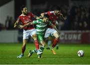 25 September 2017; Brandon Miele of Shamrock Rovers in action against Billy Dennehy, left, and Killian Brennan of St Patrick's Athletic during the SSE Airtricity League Premier Division match between St Patrick's Athletic and Shamrock Rovers at Richmond Park, in Dublin. Photo by Seb Daly/Sportsfile