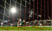 25 September 2017; Robbie Benson of Dundalk scores his side's first goal of the game despite the efforts of Mark McNulty of Cork City during the SSE Airtricity Premier Division match between Cork City and Dundalk at Turners Cross, in Cork. Photo by Eóin Noonan/Sportsfile