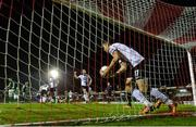 25 September 2017; Patrick McEleney of Dundalk picks the ball out of the Cork City net after Robbie Benson scores his side's first goal of the game during the SSE Airtricity Premier Division match between Cork City and Dundalk at Turners Cross, in Cork. Photo by Eóin Noonan/Sportsfile