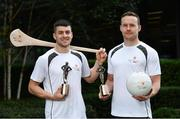26 September 2017; Mayo's Andy Moran, right, and Waterford's Jamie Barron were confirmed as the PwC GAA/GPA Players of the Month for August in football and hurling. Pictured are both players after being presented with his PwC GAA/GPA Player of the Month Award at a reception in PwC Offices, Dublin. Photo by Sam Barnes/Sportsfile