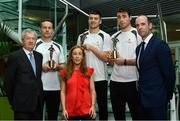 26 September 2017; Marie Coady, Tax Partner, PwC, Paraic Duffy, GAA Director General, far left, and Dermot Earley GPA Chief Executive, far right, are pictured with, from left, Mayo's Andy Moran, Waterford's Jamie Barron and Galway Hurler Conor Cooney at the announcement of July and August's PwC GAA/GPA Player of the Month Awards at a reception in PwC Offices, Dublin. Photo by Sam Barnes/Sportsfile