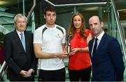 26 September 2017; Marie Coady, Tax Partner, PwC, Paraic Duffy, GAA Director General, left, and Dermot Earley GPA Chief Executive, right, are pictured with Galway hurler Conor Cooney at the announcement of July and August's PwC GAA/GPA Player of the Month Awards at a reception in PwC Offices, Dublin. Photo by Sam Barnes/Sportsfile