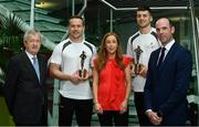 26 September 2017; Marie Coady, Tax Partner, PwC, Paraic Duffy, GAA Director General, left, and Dermot Earley GPA Chief Executive, right, are pictured with, from left, Mayo's Andy Moran, and Waterford's Jamie Barron at the announcement of July and August's PwC GAA/GPA Player of the Month Awards at a reception in PwC Offices, Dublin. Photo by Sam Barnes/Sportsfile