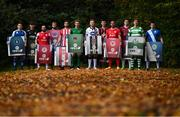 27 September 2017; EA SPORTS™ celebrates 10 years of SSE Airtricity League action with the return of the FIFA 18 Club packs! Featuring the individual club crest of all 12 Premier Division teams, Irish fans from across the country can show their support and download the special sleeve for free when the game launches this Friday 29th September from www.easports.com/uk/fifa/club-packs-17/league-of-ireland . Pictured at the Launch of FIFA 18 Club packs at the Iveagh Gardens in Dublin are SSE Airtricity League players, from left, Dean Clarke of Limerick FC, Jake Ellis of Bray Wanderers, Rafael Cretaro of Sligo Rovers, Ryan McEvoy of Drogheda United, Nathan Boyle of Derry City, Kieran Sadlier of Cork City, Sean Hoare of Dundalk, Dinny Corcroan of Bohemian, Gavin Peers of St Patrick's Athletic, Padraic Cunningham of Galway United, Ronan Finn of Shamrock Rovers and Ciaran Coll of Finn Harps. Photo by Stephen McCarthy/Sportsfile