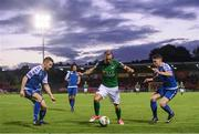 29 September 2017; Karl Sheppard of Cork City in action against David O'Connor, left, and Dean Clarke of Limerick during the Irish Daily Mail FAI Cup Semi-Final match beween Cork City and Limerick FC at Turner's Cross in Cork. Photo by Stephen McCarthy/Sportsfile
