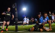 3 November 2017; Adam Byrne of Leinster scores his side's third try despite the tackle of Niko Matawalu of Glasgow Warriors during the Guinness PRO14 Round 8 match between Glasgow Warriors and Leinster at Scotstoun in Glasgow, Scotland. Photo by Ramsey Cardy/Sportsfile