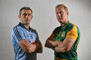 16 July 2012; Dublin footballer Alan Brogan, left, with former Meath footballer, and current Meath selector Graham Geraghty after a press conference ahead of their side's Leinster GAA Football Senior Championship Final on Sunday. Croke Park, Dublin. Picture credit: Barry Cregg / SPORTSFILE