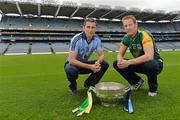 16 July 2012; Dublin footballer Alan Brogan, left, with former Meath footballer, and current Meath selector Graham Geraghty, with the Delaney Cup, after a press conference ahead of their side's Leinster GAA Football Senior Championship Final on Sunday. Croke Park, Dublin. Picture credit: Barry Cregg / SPORTSFILE