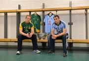16 July 2012; Dublin footballer Alan Brogan, right, with former Meath footballer, and current Meath selector Graham Geraghty after a press conference ahead of their side's Leinster GAA Football Senior Championship Final on Sunday. Croke Park, Dublin. Picture credit: Barry Cregg / SPORTSFILE