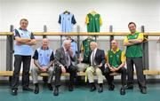 18 July 2012; Former Dublin manager Paddy Cullen, third from left, and former Meath manager Sean Boylan, third from right, with the Delaney Cup, alongside, from left, former Dublin footballers Jack Sheedy and Paul Clarke, former Meath footballers David Beggy and Bernard Flynn, at a photocall to celebrate the 21st anniversary of the 1991 Meath v Dublin matches. Representatives from both teams will be guests of the Leinster Council at the Leinster GAA Football Senior Championship Final on Sunday. Croke Park, Dublin. Picture credit: Barry Cregg / SPORTSFILE