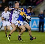 29 September 2017; Colin Lynch of Castleknock in action against Paul Mannion of Kilmacud Crokes during the Dublin County Senior Football Championship Quarter-Final match between Castleknock and Kilmacud Crokes at Parnell Park in Dublin.  Photo by Piaras Ó Mídheach/Sportsfile