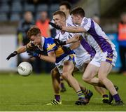 29 September 2017; Colin Lynch of Castleknock in action against, from left, Cian O'Sullivan, Paul Mannion and Cillian O'Shea of Kilmacud Crokes during the Dublin County Senior Football Championship Quarter-Final match between Castleknock and Kilmacud Crokes at Parnell Park in Dublin. Photo by Piaras Ó Mídheach/Sportsfile