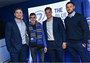29 September 2017; Supporters in The Blue Room with Leinster players Jamie Heaslip, Josh van der Flier and Robbie Henshaw ahead of the Guinness PRO14 Round 5 match between Leinster and Edinburgh at the RDS Arena in Dublin. Photo by Ramsey Cardy/Sportsfile