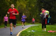 30 September 2017; Dave Linnane of UCC athletics club during the Ballincollig parkrun where Vhi hosted a special event to celebrate their partnership with parkrun Ireland. Former Cork GAA footballer Valerie Mulcahy was on hand to lead the warm up for parkrun participants before completing the 5km course alongside newcomers and seasoned parkrunners alike. Vhi provided walkers, joggers, runners and volunteers at Ballincollig parkrun with a variety of refreshments in the Vhi Relaxation Area at the finish line. A qualified physiotherapist Will Cuddihy was also available to guide participants through a post event stretching routine to ease those aching muscles. Parkruns take place over a 5km course weekly, are free to enter and are open to all ages and abilities, providing a fun and safe environment to enjoy exercise. To register for a parkrun near you visit www.parkrun.ie. New registrants should select their chosen event as their home location. You will then receive a personal barcode which acts as your free entry to any parkrun event worldwide. The Regional Park, Ballincollig, Co Cork. Photo by Eóin Noonan/Sportsfile