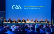 30 September 2017; The top table, from left, John Greene, GAA Trustee, Niall Erskine, GAA Trustee, Michael Hasson, Ulster GAA President, Jerry O'Sullivan, Munster GAA Chairman, Uachtarán Chumann Lúthchleas Gael Aogán Ó Fearghail, Ard Stiúrthóir Paráic Duffy, Uachtarán Tofa Chumann Lúthchleas Gael John Horan, Mick Rock, Connacht GAA President, Seán Hackett, Britain GAA President, and Jim Bolger, Leinster GAA Chairman, during a GAA Special Congress at Croke Park in Dublin. Photo by Piaras Ó Mídheach/Sportsfile