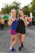 30 September 2017; Niamh Boyle, left from Castleblaney Co. Monaghan, and Lauren Gilfoyle from Feakle Co. Clare  during the Run for Adam Burke at Two Mile House GAA Club in Kildare. Photo by Ray McManus/Sportsfile