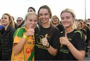30 September 2017; Athletes Rachel McMullen, left, Ava Flanagan, centre and Eimear O'Flaherty, from Two mile House give the thumbs up, prior to the Run for Adam Burke at Two Mile House GAA Club in Kildare. Photo by Ray McManus/Sportsfile