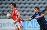 30 September 2017; Michael Fitzsimons of Cuala in action against Kevin McManamon of St. Judes during the Dublin County Senior Football Championship Quarter-Final match beween Cuala and St Jude's at Parnell Park in Dublin. Photo by David Fitzgerald/Sportsfile