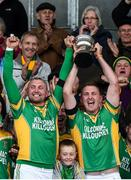 1 October 2017; Kilcormac-Killoughey captain Peter Healion, right, lifts the Sean Robbins Cup with his twin brother Ger after the Offaly County Senior Hurling Championship Final match between St Rynagh's and Kilcormac-Killoughey at Bord na Móna Park in Tullamore, Co. Offaly. Photo by Matt Browne/Sportsfile