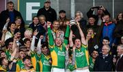 1 October 2017; Captain of Kilcormac-Killoughey, Peter Healion, right, lifts the Sean Robbins Cup with his twin brother Ger after the Offaly County Senior Hurling Championship Final match between St Rynagh's and Kilcormac-Killoughey at Bord na Móna Park in Tullamore, Co. Offaly. Photo by Matt Browne/Sportsfile