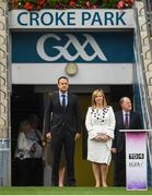 24 September 2017; An Taoiseach Leo Varadkar, T.D. and Helen O'Rourke, CEO, LGFA, during the TG4 Ladies Football All-Ireland Intermediate Championship Final match between Tipperary and Tyrone at Croke Park in Dublin. Photo by Brendan Moran/Sportsfile