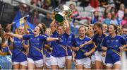 24 September 2017; The Tipperary team celebrate with the cup after the TG4 Ladies Football All-Ireland Intermediate Championship Final match between Tipperary and Tyrone at Croke Park in Dublin. Photo by Brendan Moran/Sportsfile