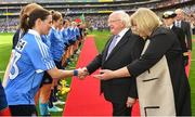 24 September 2017; President of Ireland Michael D. Higgins is introduced to Dublin captain Sinéad Aherne by President of LGFA Máire Hickey prior to the TG4 Ladies Football All-Ireland Senior Championship Final match between Dublin and Mayo at Croke Park in Dublin. Photo by Brendan Moran/Sportsfile