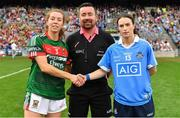 24 September 2017; Team captains Sarah Tierney of Mayo and Sinéad Aherne of Dublin shake hands in the company of referee Seamus Mulvihill prior to the TG4 Ladies Football All-Ireland Senior Championship Final match between Dublin and Mayo at Croke Park in Dublin. Photo by Brendan Moran/Sportsfile